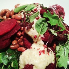Grapefruit-roasted beetroot, greens and pinto beans with cashew butter